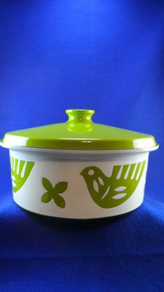 Mid Century Mod Bird Enameled Steel Covered Pot Hanova Catherineholm Finel Era | eBay