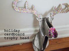 DIY cardboard animal trophy head (Holiday edition)