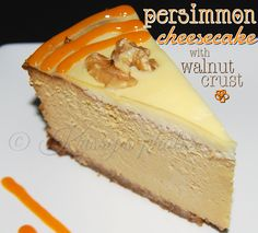 persimmon cheesecake with a walnut crust