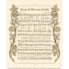 ROOM At The CROSS For YOU  8 x 10 Antique Hymn by VintageVerses, $5.00 Hymns Of Praise, Praise Songs, Worship Songs, Praise And Worship, Hymn Art, Gospel Bible, Church Songs, Southern Gospel Music, Music Illustration