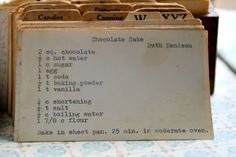 Step back in time with this vintage Chocolate Cake by Ruth recipe. Read this recipe card's history & view other recipes at the Vintage Recipe Project Retro Recipes, Old Recipes, Vintage Recipes, Cookbook Recipes, Kitchen Recipes, Other Recipes, Cake Recipes, Chocolate Recipes, Finger Foods