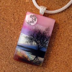 Dichroic Glass Pendant - Fused Glass Jewelry - Scenic Pendant - Landscape Pendant - Dichroic Jewelry- Tree Pendant by GlassMystique on Etsy