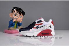 073 MAX 90 Nike Kids Air Max 90 American Flag White Blue Red Super Deals 6b657bf2d
