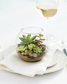 These mini terrariums make chic table decor when grouped en masse -- and they double as favors, too! Just place sand and rocks in the bottom of a fishbowl votive holder.