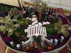 Lighted Halloween mini garden by FrogKiss creations