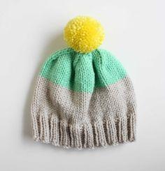 Weekender Hat in Platinum / Mint / Neon Yellow  by quiettigerknits, $30.00