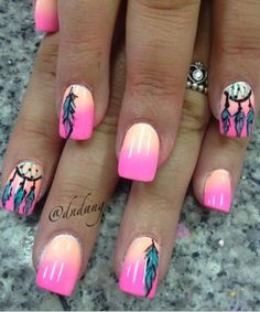 Nails Spring Summer Nail Art And Manicure Trends - Nail Art Cute Nail Art, Cute Nails, Pretty Nails, Dream Catcher Nails, Dream Catchers, Feather Nail Art, Feather Nail Designs, Uñas Fashion, Fashion Beauty