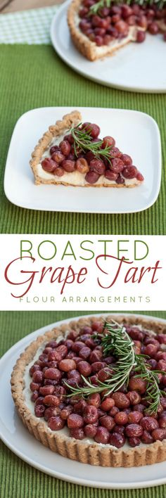 This roasted grape tart features flavorful fruit layered over over sweet mascarpone cream and a brown sugar-pecan crust. It's a simple, yet elegant dessert recipe.