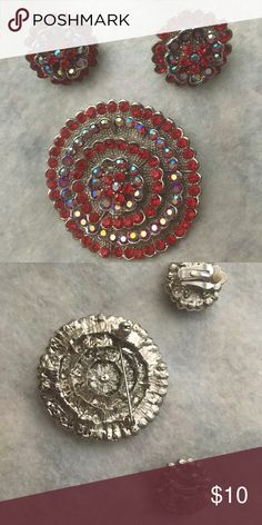 Vintage clip earrings and broach Vintage clip earrings and broach stones are deep rebuy red Vintage Jewelry Earrings