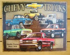Chevy Truck Tribute TIN SIGN antique chevrolet metal vtg garage wall decor 1747