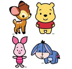 Baby Bambi, Baby Winnie the Pooh, Baby Piglet, and Baby Eeyore