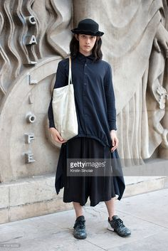 Model Louis Kurihara wears Limi Feu with Y's bag, Tiger trainers and Vintage hat…