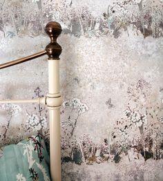 Autumnal Tones, Flint | Meadow Wallpaper by Louise Body | Jane Clayton