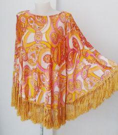 Vintage Amazing Poncho Hippie 1960's 1970s  by DorisVintage