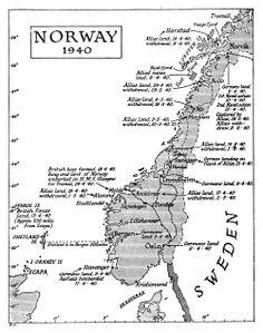 Map of Norway 1940 (Showing Invasion Points) 1949