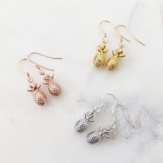 pineapple earrings, tropical earrings summer earrings silver rose gold or gold pineapple accessories summer jewelry summer jewellery handmade pineapple jewellery pineapple jewelry