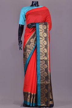 Candy Red Tussar Silk Zari Woven Saree-KB1931