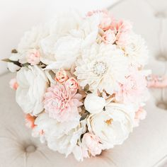 We are completely in love with this cream, blush and antique rose colored bouquet! Our romantic wedding bouquet has a soft color palette and a little bit of bling. With a combination of silk and woode Prom Flowers, Fake Flowers, Wedding Flowers, Fake Flower Centerpieces, Flower Arrangements, Wedding Tips, Wedding Planning, Wedding Hair, Wooden Flowers