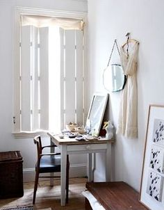 Dressing table in modern bedroom - Image No: 0047421 - GAP Interiors - Picture library specialising in Interiors, Lifestyle Rooms & Homes Diy Shutters, English House, Couch, Interior Photography, Refurbished Furniture, Modern Bedroom, House Colors, Sweet Home, Bedroom Retreat