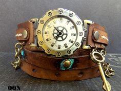Vintage looking Leather wrap around watch,  womens watch, Bracelet Watch, Chain watch, Fashion, Gift, by CuckooNestArtStudio on Etsy https://www.etsy.com/listing/215096304/vintage-looking-leather-wrap-around