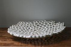 White fruit bowl,centrepiece, minimal organic home decor, contemporary ceramics, Custom order