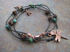 Copper Charms and Turquoise and Copper Beads on by SevenMetals, $10.00