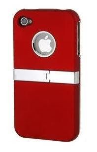MetaiCase Deluxe Red ATT Verizon Iphone 4 4S 4G Case Cover with Kickstand
