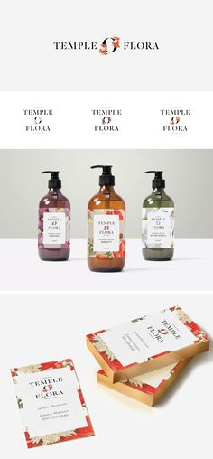 Logo and packaging design for Temple O Flora essential oil blends.