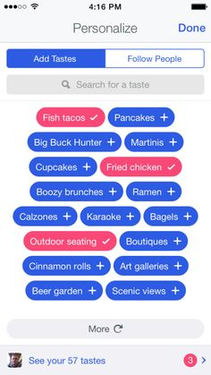 Tags/Filters - On boarding for mobile Foursquare ios app iphone filter mood location