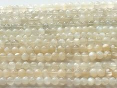 Moonstone Round Ball Beads Natural Ivory by gemsforjewels on Etsy