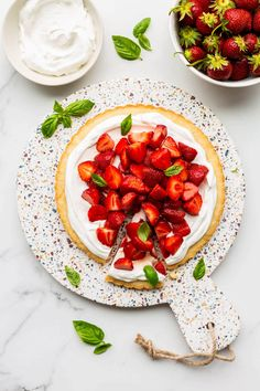 This beautiful strawberry basil tart is topped with a yogurt whipped cream and maple macerated strawberries with basil Easy Tart Recipes, Healthy Recipes, Kitchen Recipes, Cooking Recipes, Galette Recipe, Savory Tart, Summer Cookies, Sweet Tarts