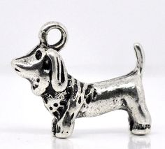 4 Silver Tone Dog PUPPY Beagle Doxie Dachshund Charms by SmartParts, $2.89