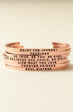 These make the perfect gift! I love these inspirational bracelets from MantraBand. One of my favorites: 'She Believed She Could' Cuff. Also in gold and silver tones! Cheap Graduation Gifts, Mantraband Bracelets, Women's Bracelets, Stacking Bracelets, Friendship Bracelets, Bangles, Best Stocking Stuffers, Personalized Bridesmaid Gifts, She Believed She Could
