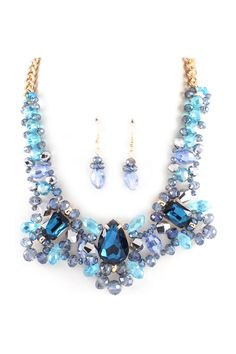 Crystal Delphine Necklace in Sapphire on Emma Stine Limited
