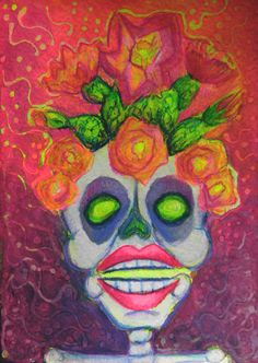 Calavera with Prickly Pear Crown Mixed Media Drawing by Candita74, $30.00