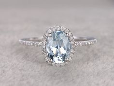 Natural Blue Aquamarine Ring! Engagement ring White gold with Diamond,