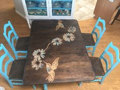 s 9 dining room table makeovers we can t stop looking at, painted furniture, After A stained wood piece of art Refurbished Furniture, Paint Furniture, Repurposed Furniture, Furniture Projects, Table Furniture, Furniture Makeover, Modern Furniture, Furniture Design, Stained Table