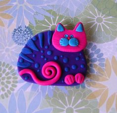 Polymer Clay Purple and Pink Cat pin brooch or by Coloraudia, $10.00