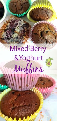Mixed Berry and Yoghurt Muffins; Super easy, super delicious and healthy! What more could you ask for in a muffin? Kid Meals, Easy Meals For Kids, Toddler Meals, Baby Food Recipes, Easy Recipes, Snack Recipes, Snacks, Fussy Eaters Toddlers, Baby Muffins