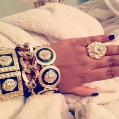 Gold and black accessories