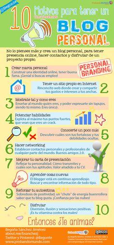 10 Beneficios de tener un #blog personal #blogger #infografia #marcapersonal