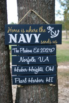"I want this so bad! :)   FOUR BARS (Any Branch) ""Home is where the Army, Navy, Marine Corps, Coast Guard, Air Force sends us"" Painted Military Family sign. $49.00, via Etsy."