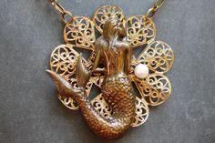 Vintage Mermaid Necklace/ Mermaid Pendant Necklace/ by LilyMairi, $39.00