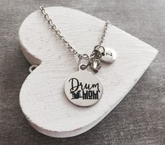 Drum mom, Drummer, Drum Sticks, Drums, Band geek, Rock Band, Marching band, Drumline Mom, Band Mom, Silver Necklace, Charm Necklace, Gifts by SAjolie, $21.75 USD