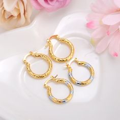 2pairs Earrings S Dubai Gold Turkish Egyptian Algeria Indian Moroccan Saudi Kids Fashion Jewelry