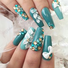 """Figure out more information on """"acrylic nail art designs ring finger"""". Visit our site. Glam Nails, Hot Nails, Bling Nails, Fabulous Nails, Gorgeous Nails, Pretty Nails, 3d Flower Nails, 3d Nail Designs, Nails Design With Rhinestones"""