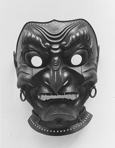 Samurai Warrior's Protective Mask - Inscribed by Myochin Muneakira (Japanese, Edo period, Date: dated 1713 Culture: Japanese Medium: Lacquered iron Mascara Oni, Oni Mask, Japanese Mask, Culture Art, Arte Tribal, Art Premier, Samurai Armor, Cool Masks, Art Japonais