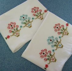Vintage Pillowcases Embroidered Flowers In Pots Aqua Coral Old New Stock Unused 1950s.