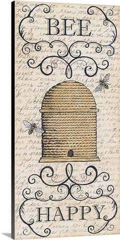 Deb Strain Poster Print Wall Art Print entitled Bee Happy, None Vintage Diy, Vintage Labels, Vintage Ephemera, Vintage Images, Wall Art Prints, Poster Prints, Canvas Prints, Framed Prints, Bee Creative
