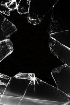 Fractured Glass Texture #black #broken #glass